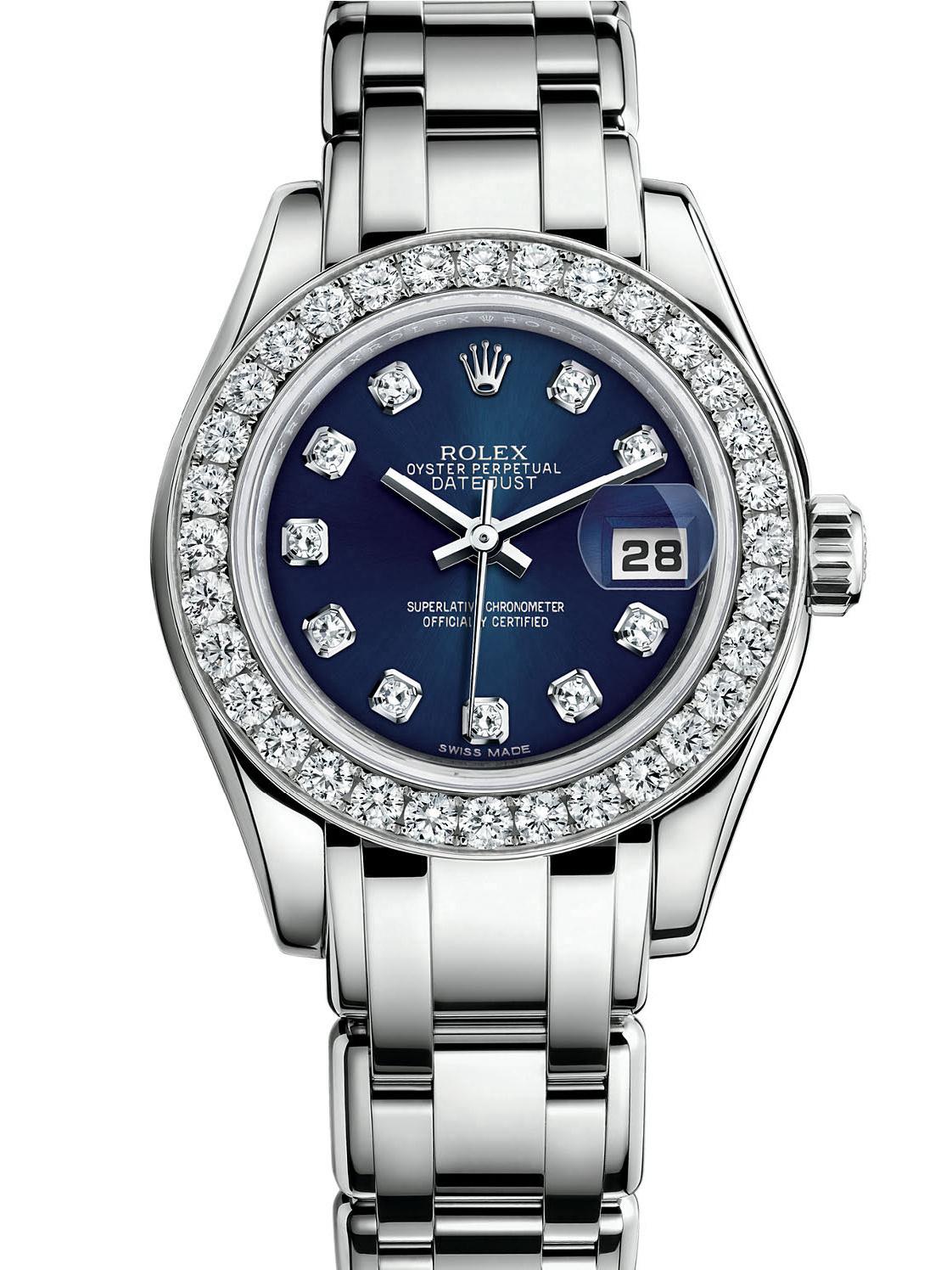 劳力士珍珠淑女型29白金钻圈蓝面女表80299-0029