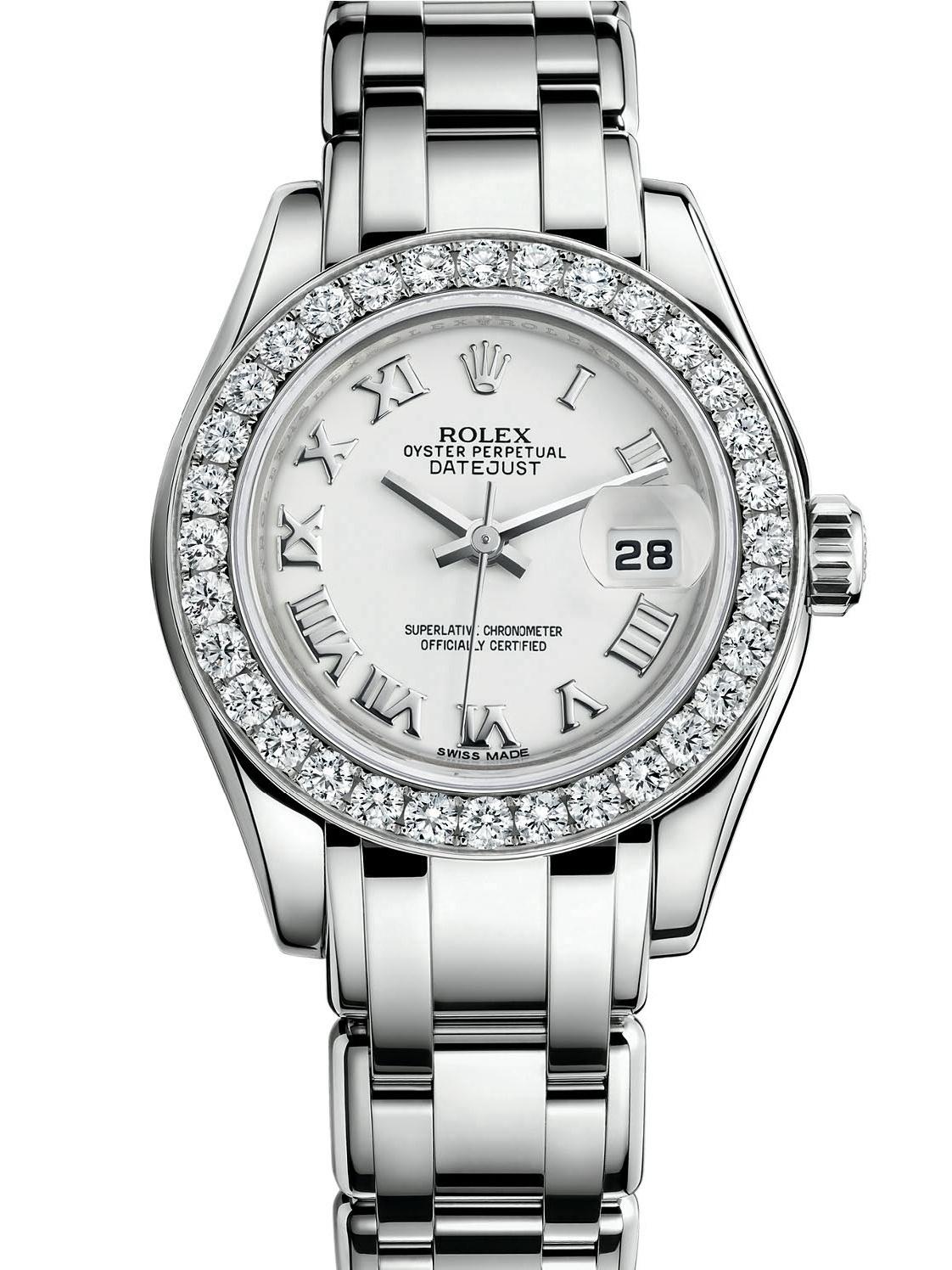 劳力士珍珠淑女型29白金钻圈白面女表80299-0030