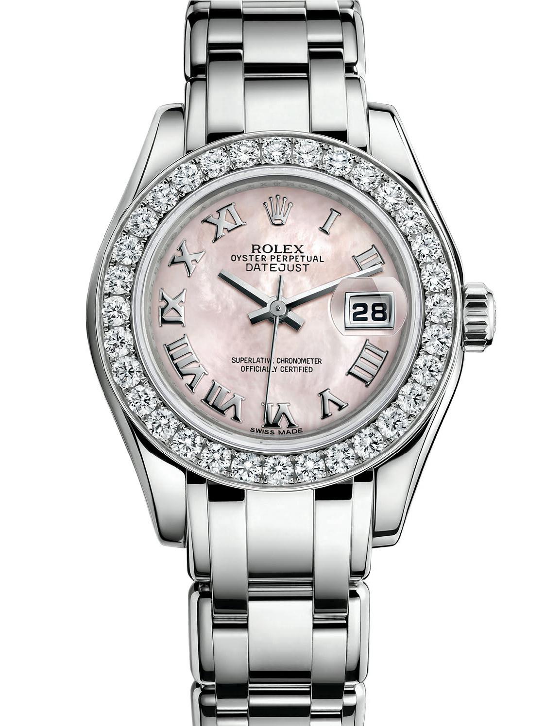 劳力士珍珠淑女型29白金钻圈粉红面女表80299-0067
