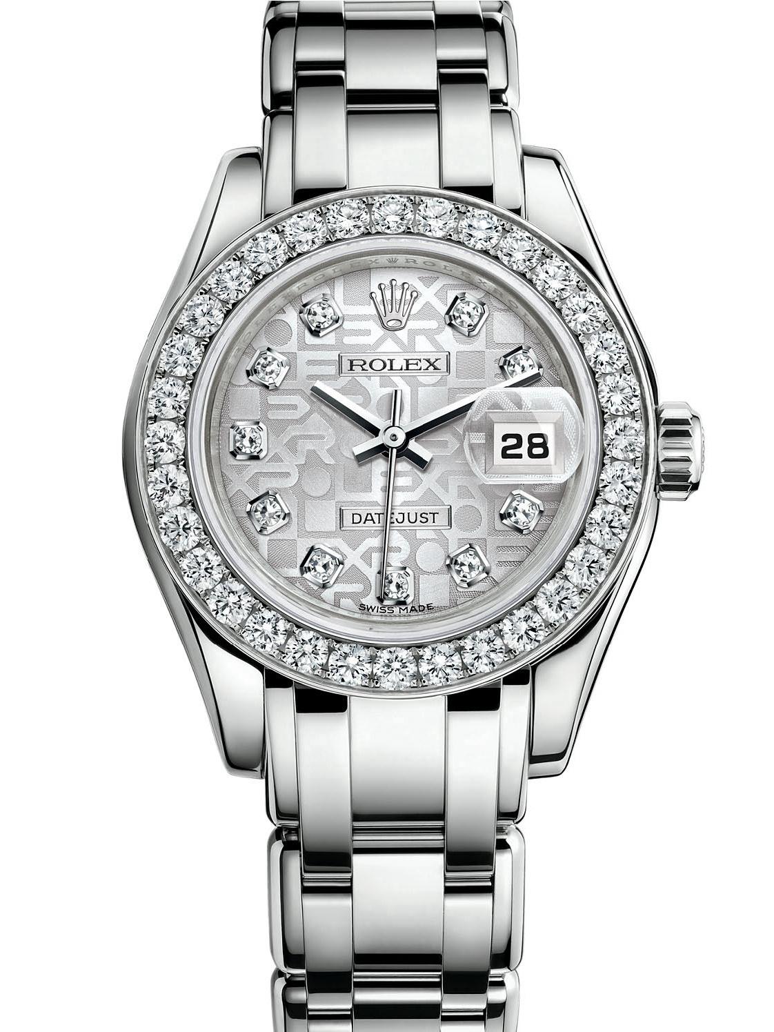劳力士珍珠淑女型29白金钻圈银面女表80299-0073