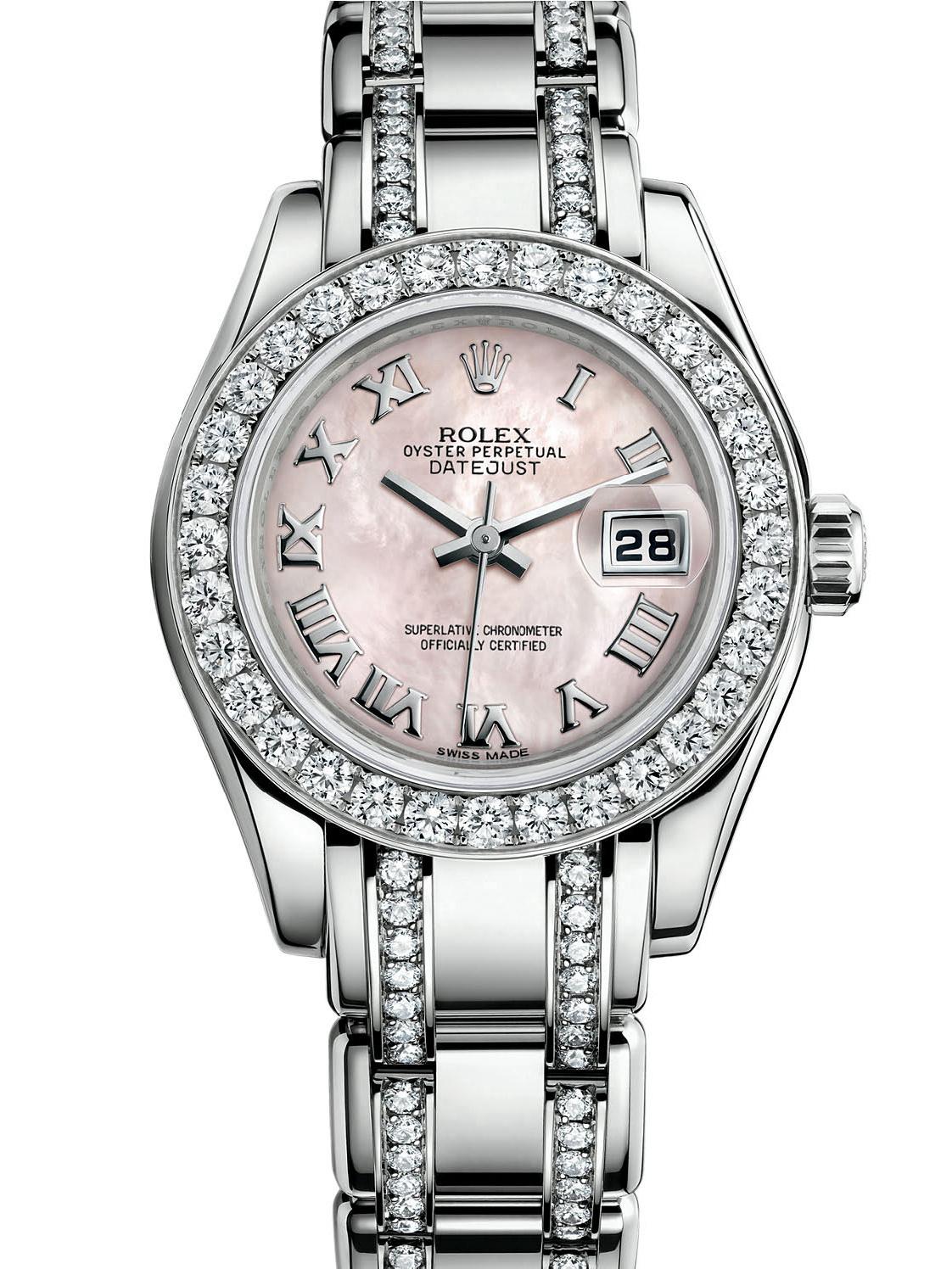 劳力士珍珠淑女型29白金钻圈粉红面女表80299-0080