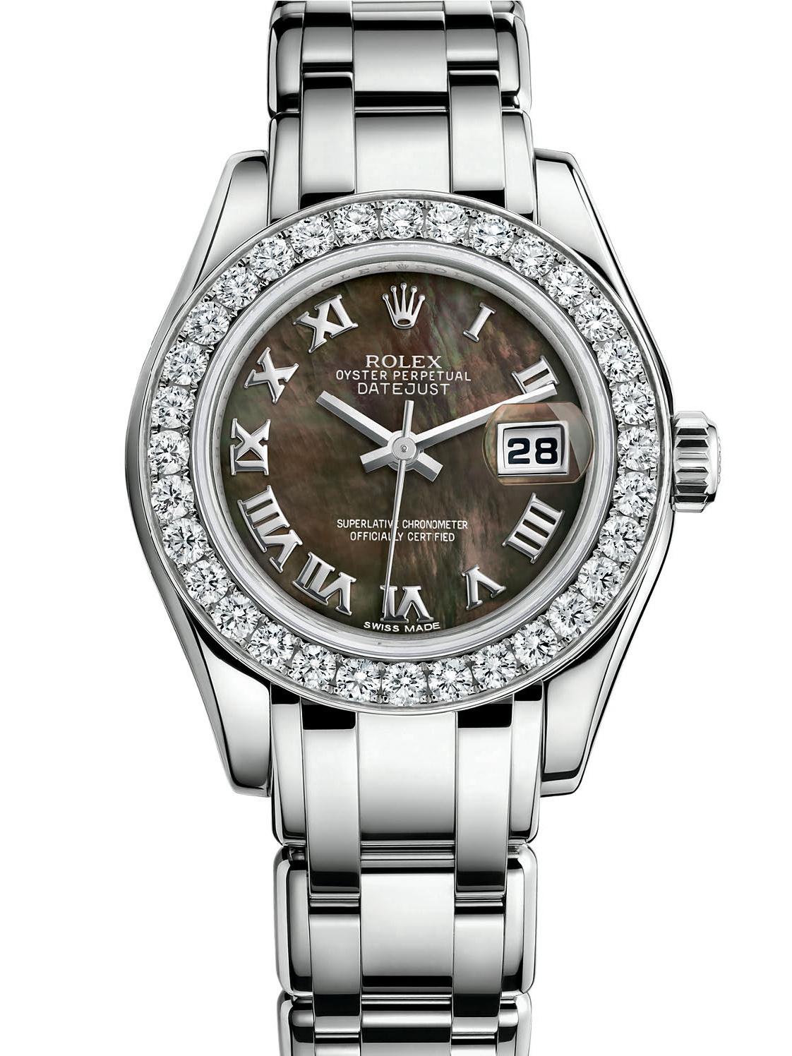 劳力士珍珠淑女型29白金钻圈黑面女表80299-0102