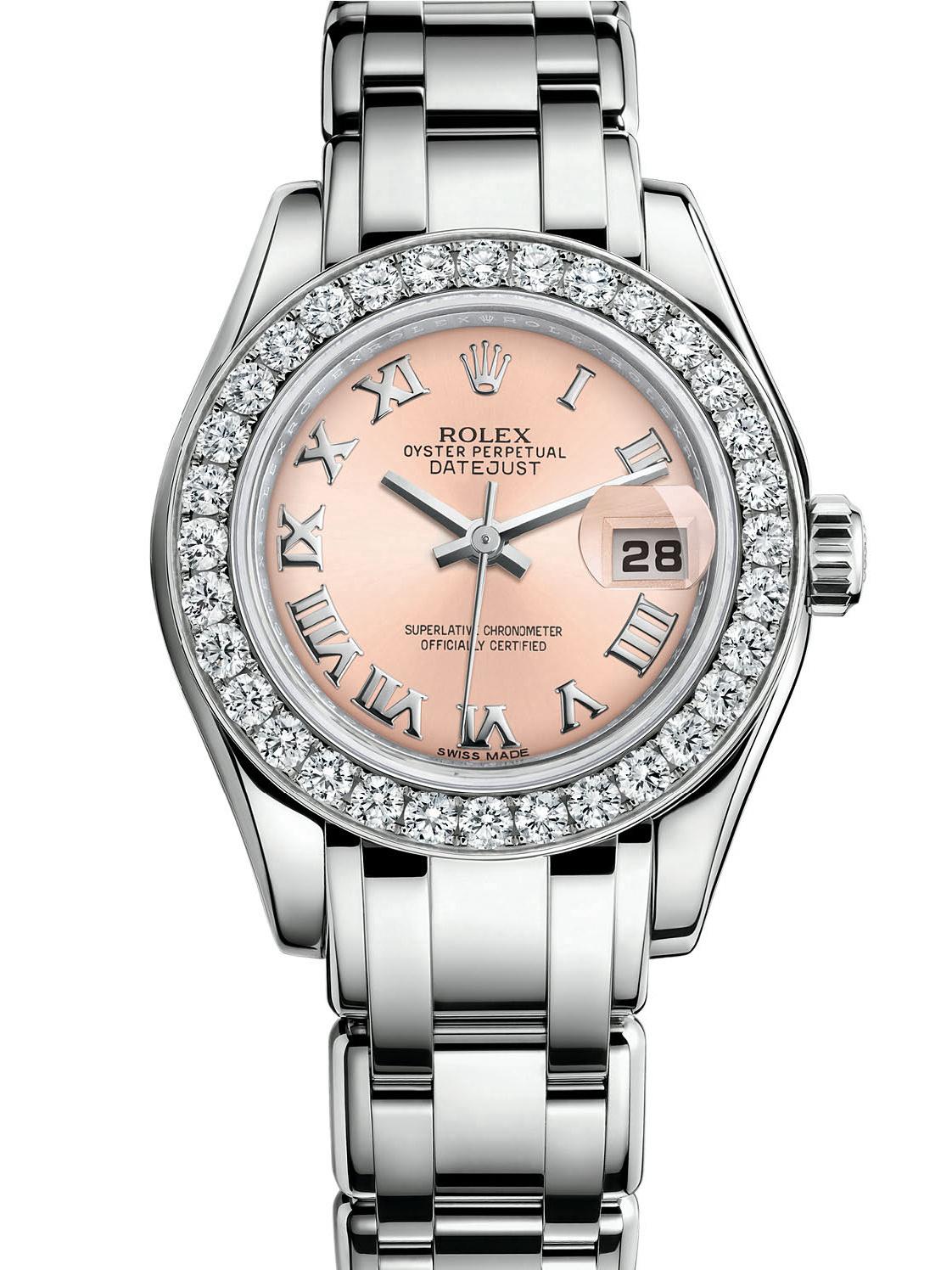 劳力士珍珠淑女型29白金钻圈粉红面女表80299-0120