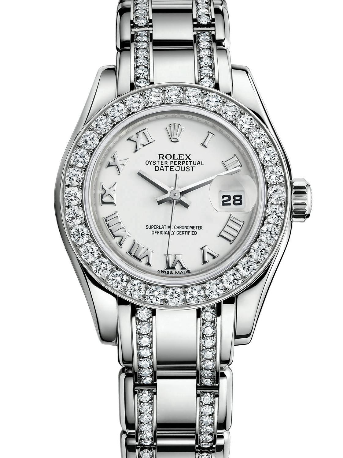 劳力士珍珠淑女型29白金钻圈白面女表80299-0138