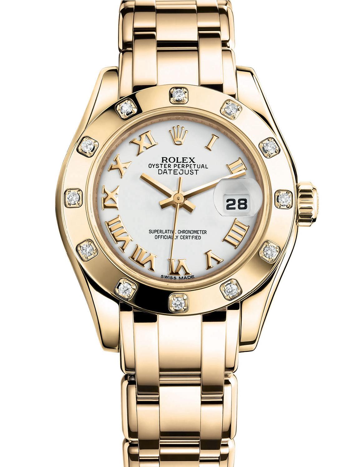 劳力士珍珠淑女型29黄金光圈镶钻白面女表80318-0054