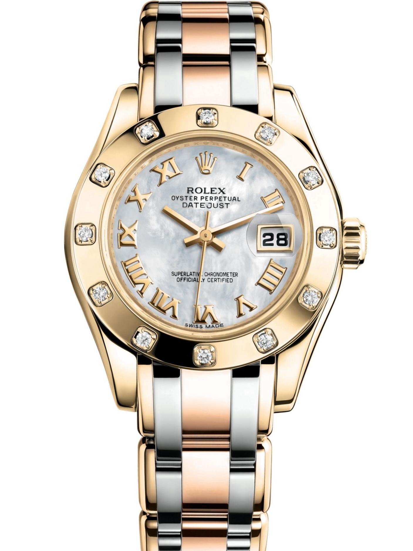 劳力士珍珠淑女型29黄金镶钻圈白贝母面罗马字三色带女表80318-0056