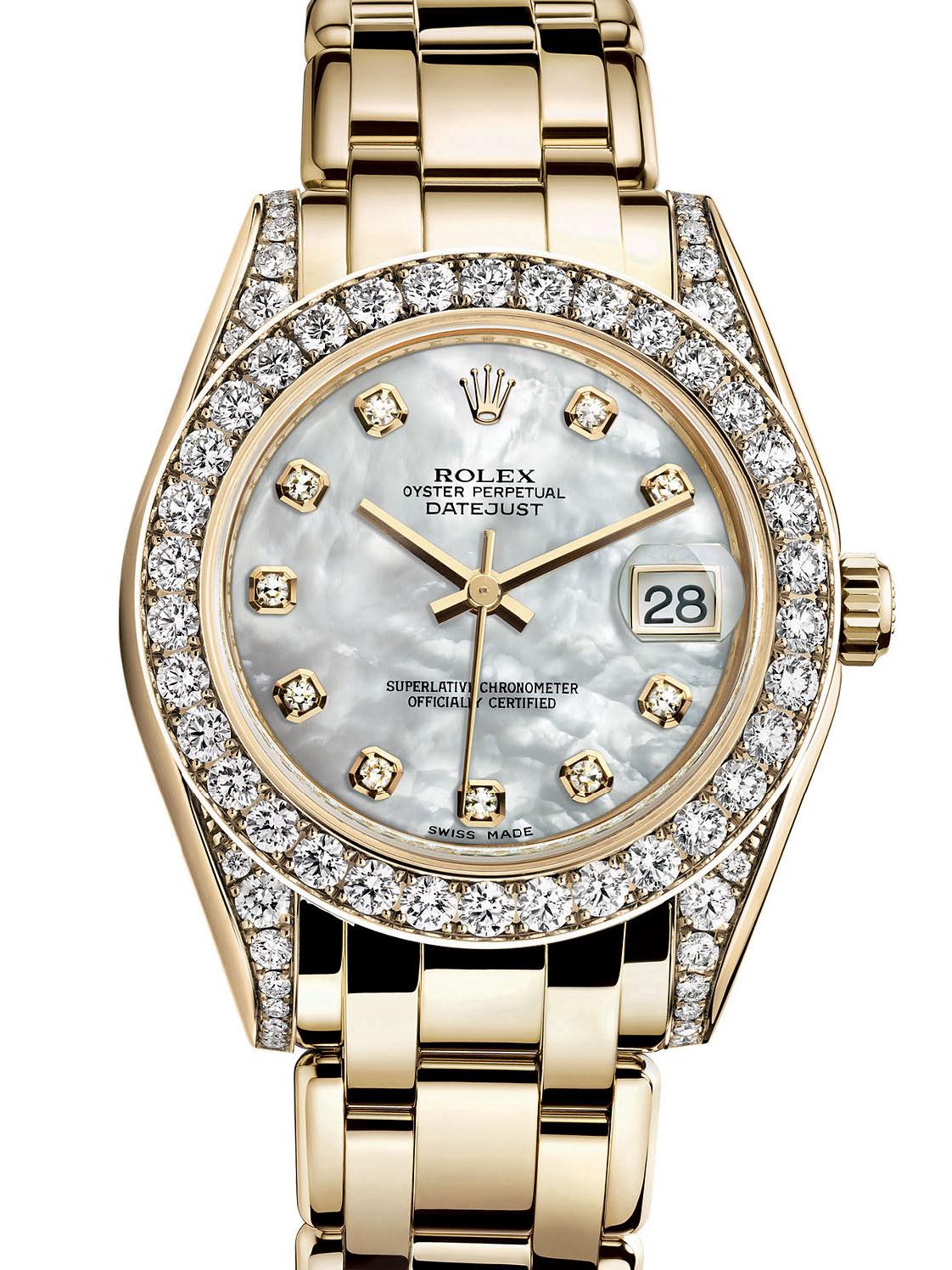劳力士珍珠淑女型34黄金钻圈白面女表81158-0001