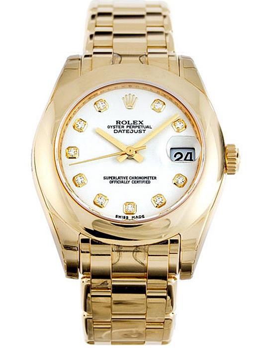 劳力士珍珠淑女型34黄金白面钻标女表81208