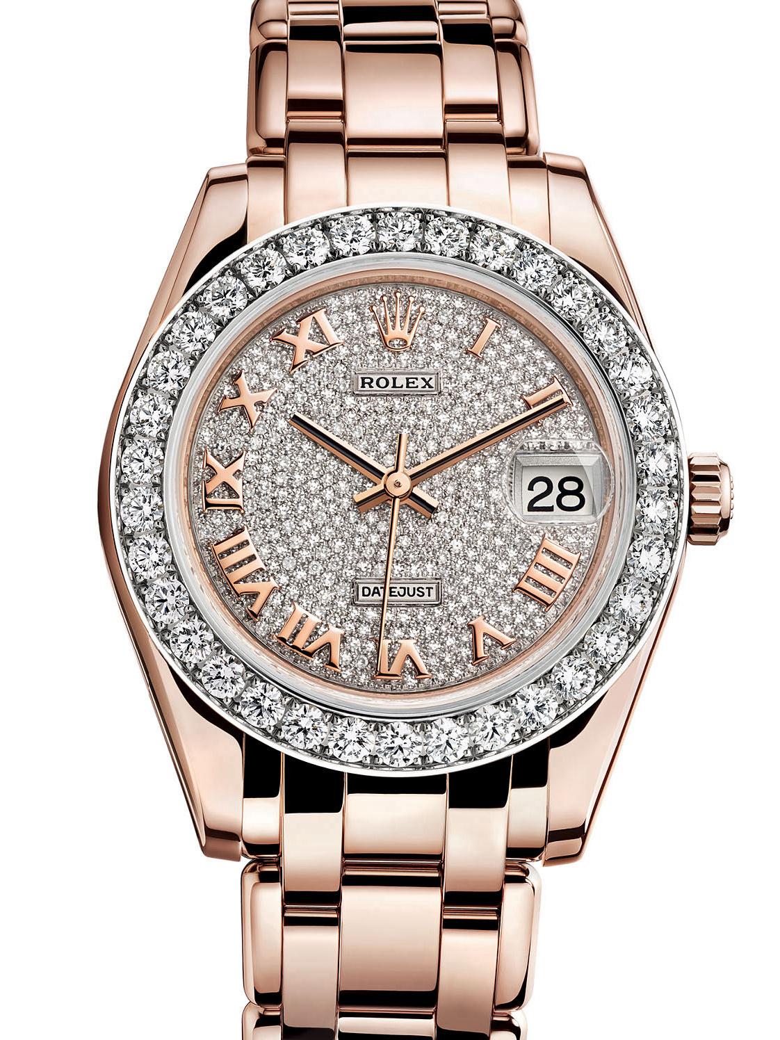 劳力士珍珠淑女型34玫瑰金钻圈钻面女表81285-0012