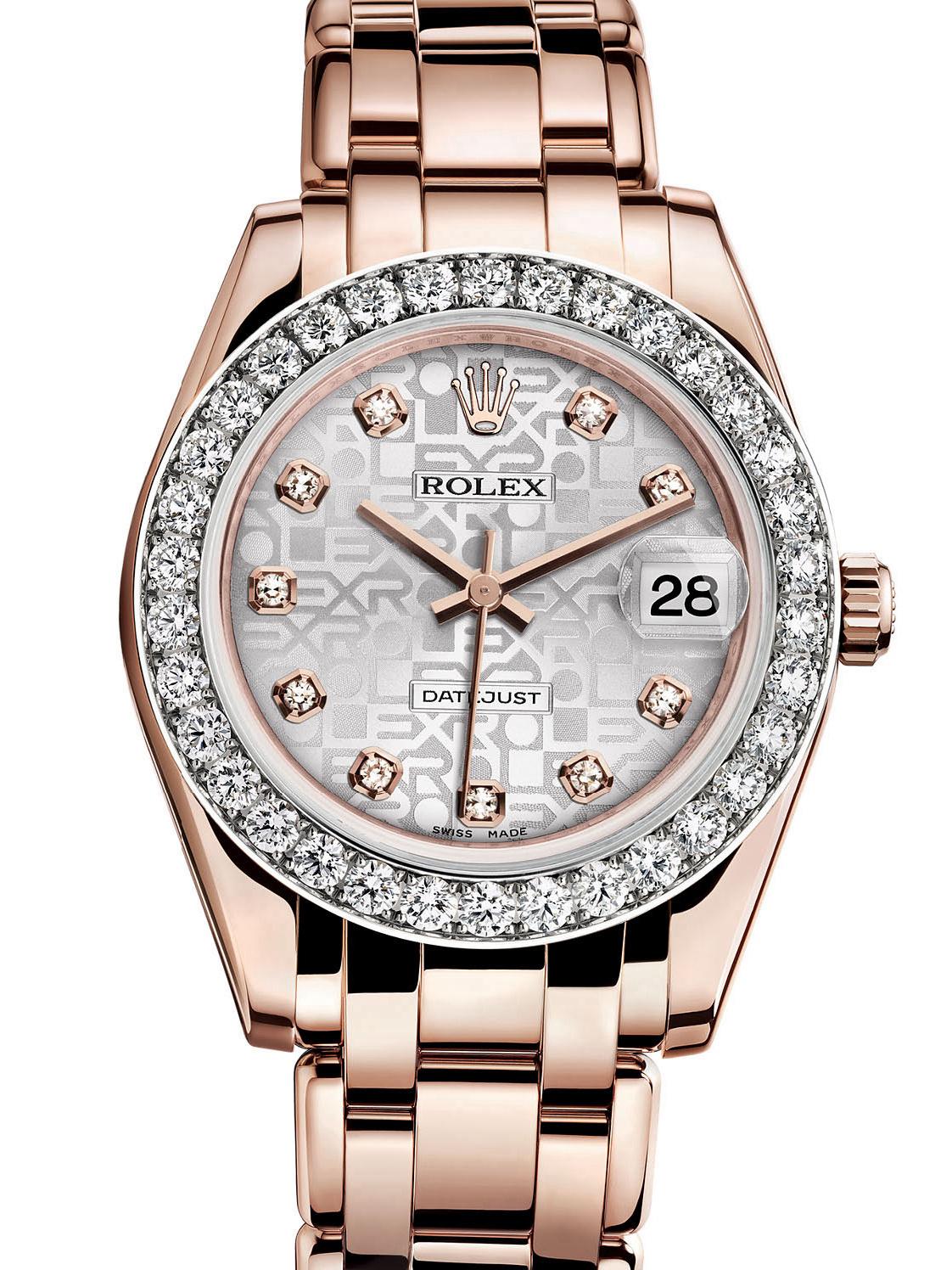 劳力士珍珠淑女型34玫瑰金钻圈银面女表81285-0016