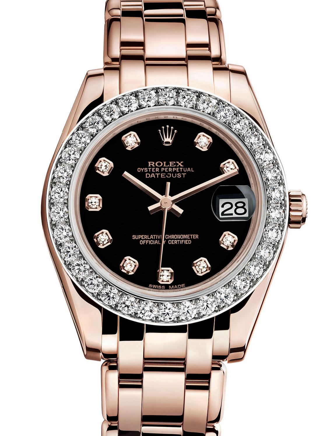 劳力士珍珠淑女型34玫瑰金钻圈黑面女表81285-0025