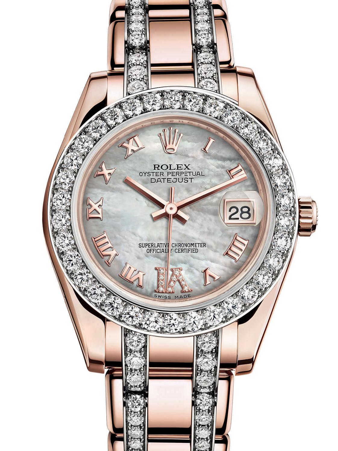 劳力士珍珠淑女型34玫瑰金钻圈白面女表81285-0026