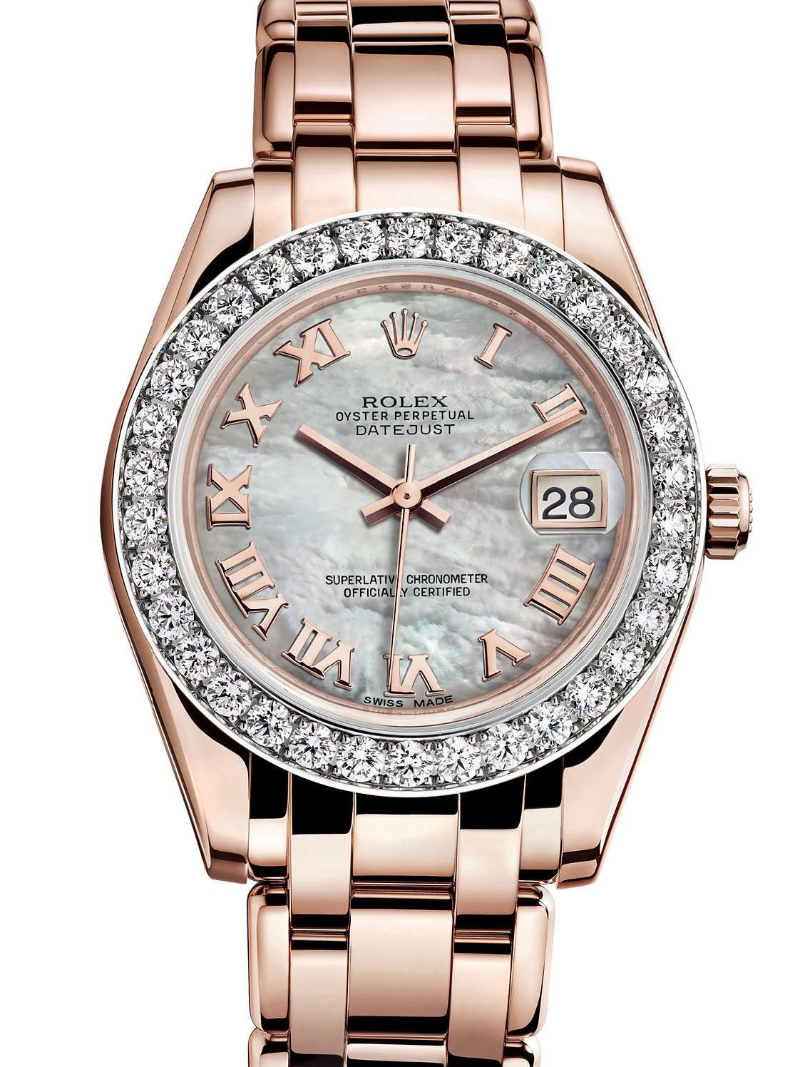 劳力士珍珠淑女型34玫瑰金钻圈白面女表81285-0028