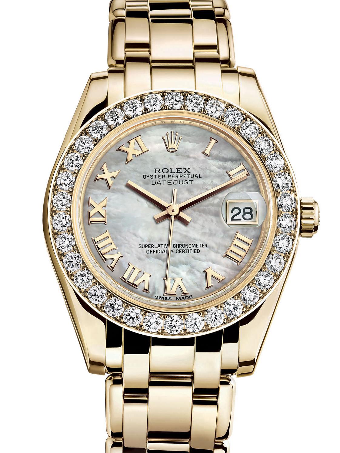 劳力士珍珠淑女型34黄金钻圈白面女表81298-0004