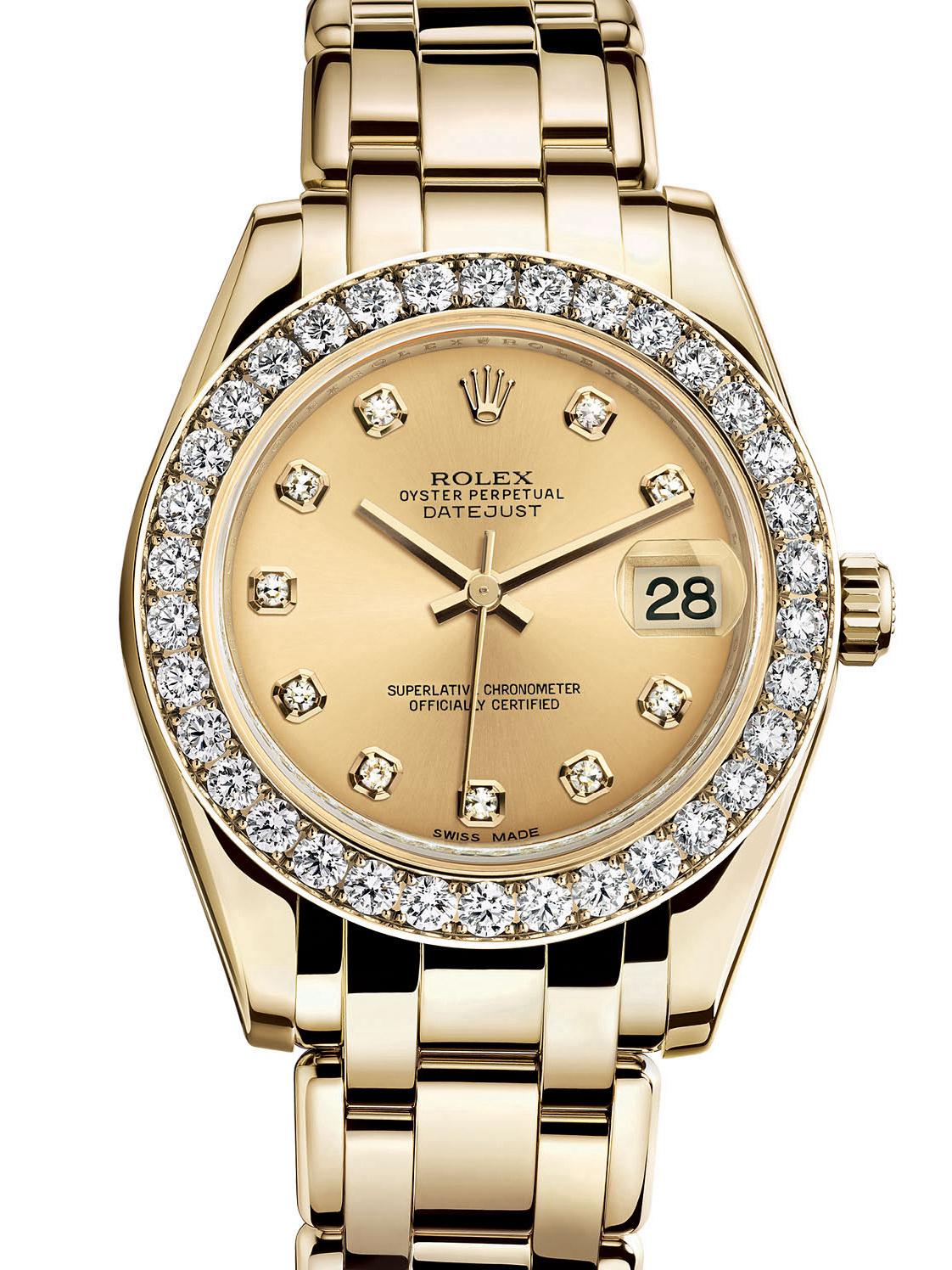 劳力士珍珠淑女型黄金钻圈金面女表81298-0005