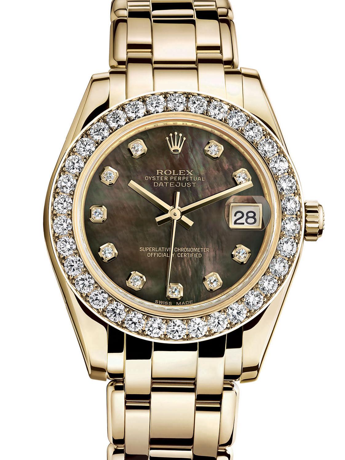 劳力士珍珠淑女型34黄金钻圈黑面女表81298-0013