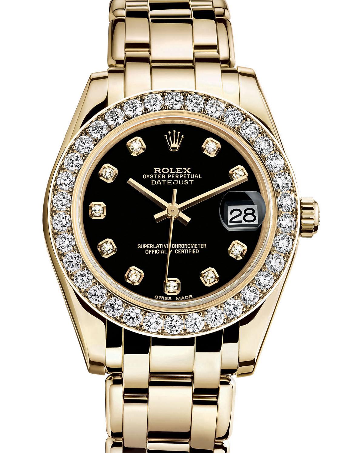 劳力士珍珠淑女型34黄金钻圈黑面女表81298-0028