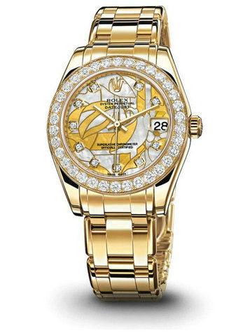 劳力士珍珠淑女型29黄金钻圈贝母面女表81298特别版