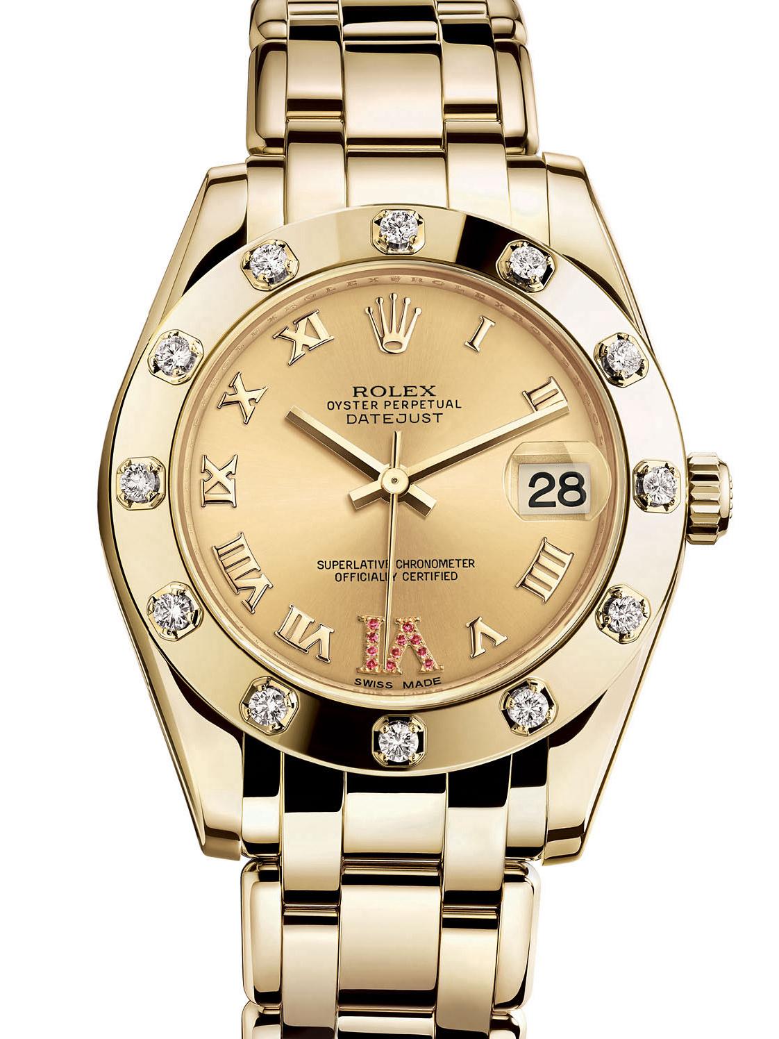 劳力士珍珠淑女型34黄金光圈镶钻金面女表81318-0040