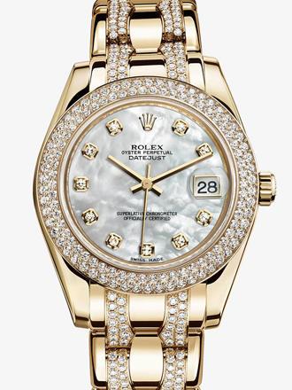 劳力士珍珠淑女型34黄金钻圈白贝母面钻标女表M81338-0019