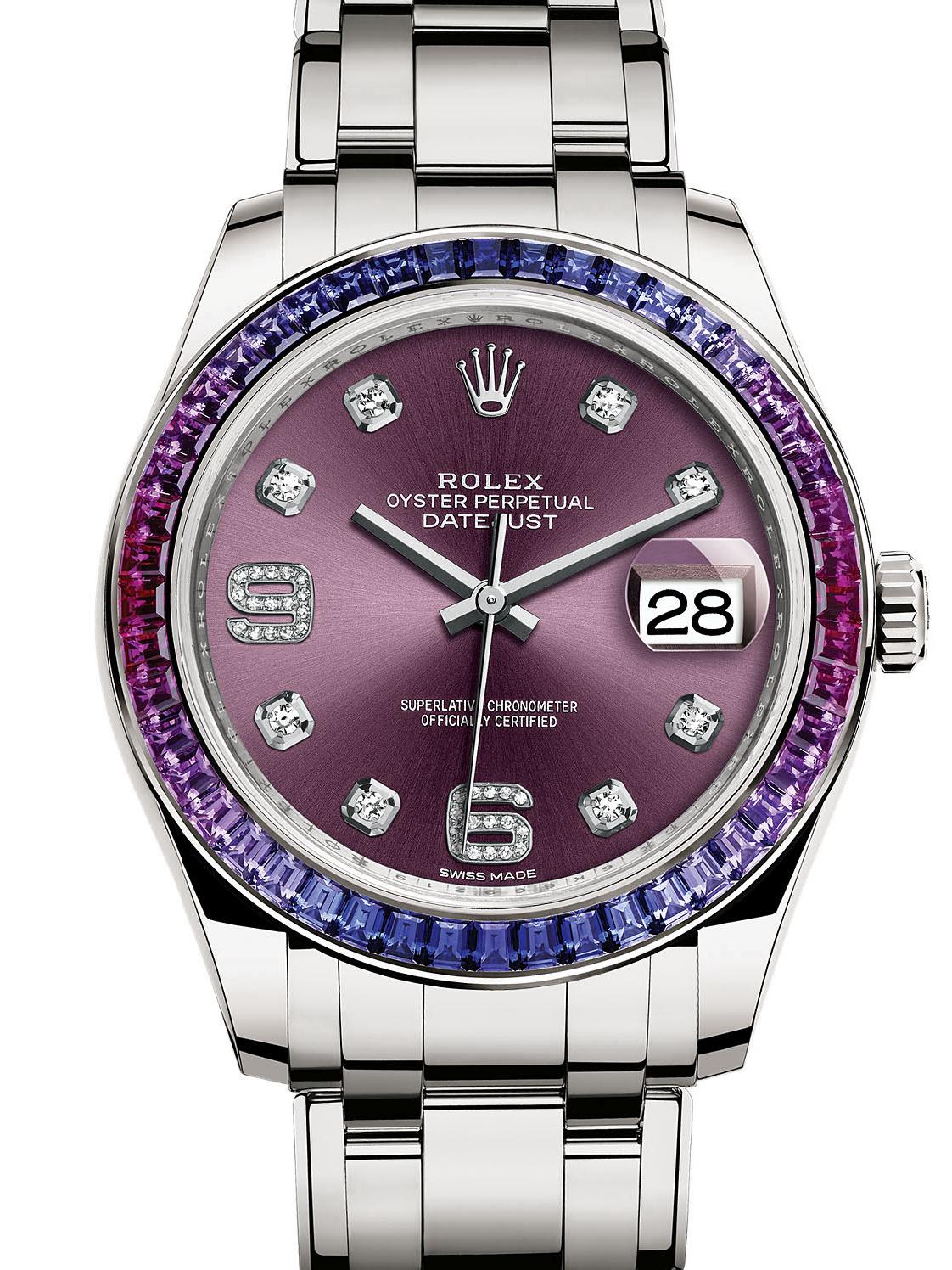 劳力士珍珠淑女型39白金钻圈紫面女表86349SAFUBL-0002