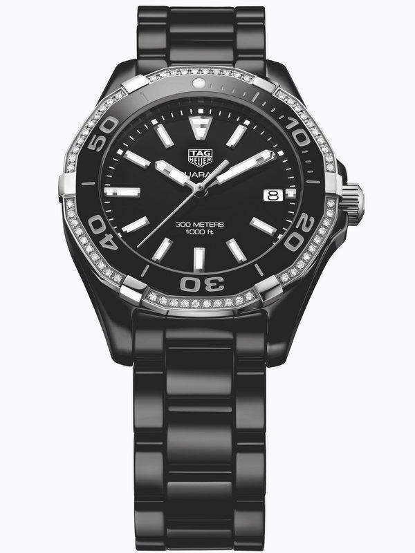 泰格豪雅竞潜Aquaracer系列WAY1395.BH0716陶瓷镶钻女表