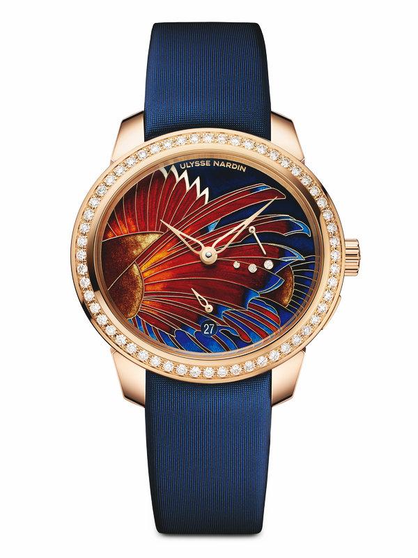 雅典玉玲珑系列《火红狮子鱼》掐丝珐琅表盘女士腕表3106-125B/LIONFISH