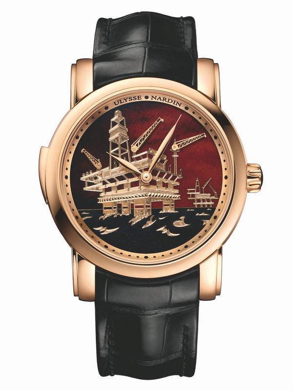 雅典鎏金经典系列《北海油田三问报时表》736-61/E2-OIL